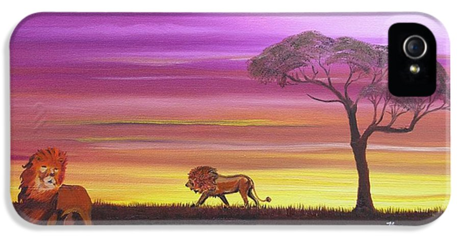 African IPhone 5 Case featuring the painting African Lions by Barbara Hayes
