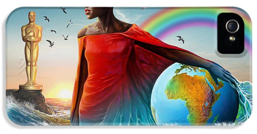 Lupita IPhone 5 Case featuring the painting The Lupita Tsunami by Anthony Mwangi