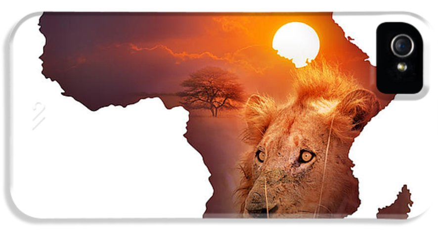 Africa IPhone 5 Case featuring the photograph African Wildlife Map by Johan Swanepoel