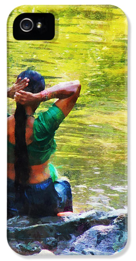 Indian Woman IPhone 5 Case featuring the photograph After The River Bathing. Indian Woman. Impressionism by Jenny Rainbow