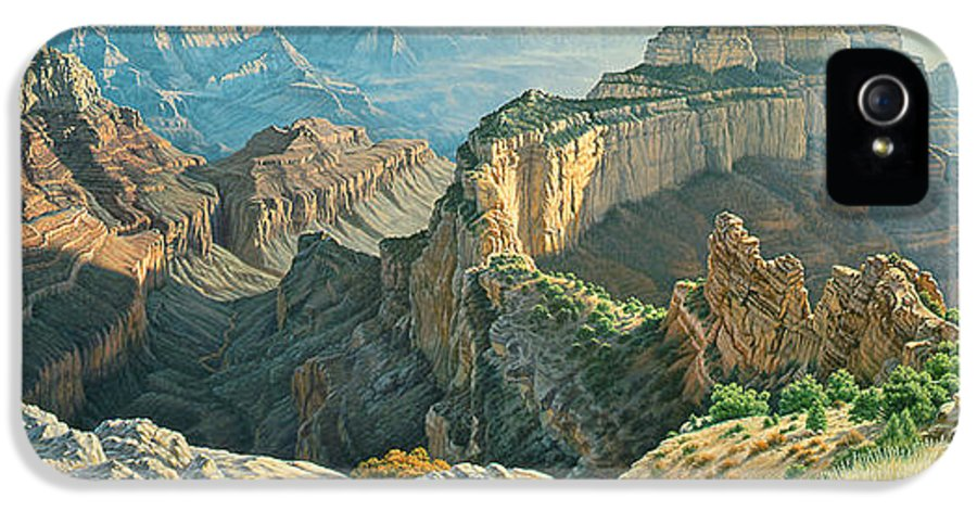 Landscape IPhone 5 Case featuring the painting Afternoon-north Rim by Paul Krapf
