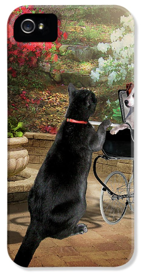Pet Picture IPhone 5 Case featuring the painting Afternoon Stroll by Regina Femrite