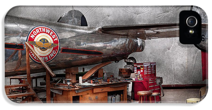 Plane IPhone 5 Case featuring the photograph Airplane - The Repair Hanger by Mike Savad