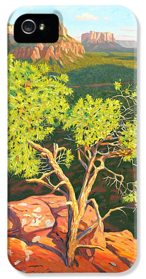 Pinion Pine Tree IPhone 5 Case featuring the painting Airport Mesa Vortex - Sedona by Steve Simon