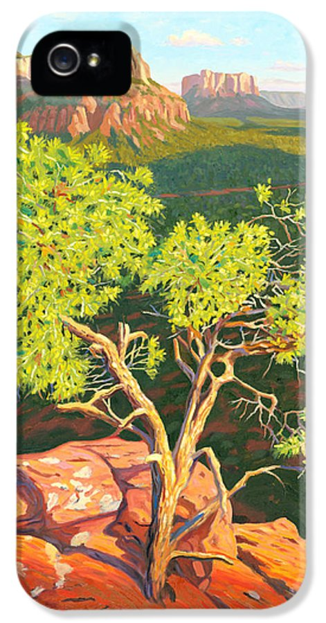 Pinion Pine Tree IPhone 5 / 5s Case featuring the painting Airport Mesa Vortex - Sedona by Steve Simon
