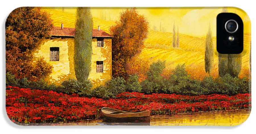 Guido IPhone 5 Case featuring the painting Al Tramonto Sul Fiume by Guido Borelli