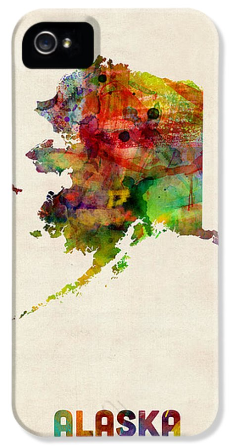 United States Map IPhone 5 Case featuring the digital art Alaska Watercolor Map by Michael Tompsett