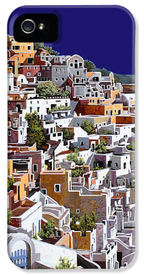 Santorini IPhone 5 Case featuring the painting alba a Santorini by Guido Borelli
