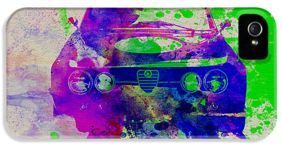 Alfa Romeo Gtv IPhone 5 Case featuring the painting Alfa Romeo Front Watercolor 1 by Naxart Studio