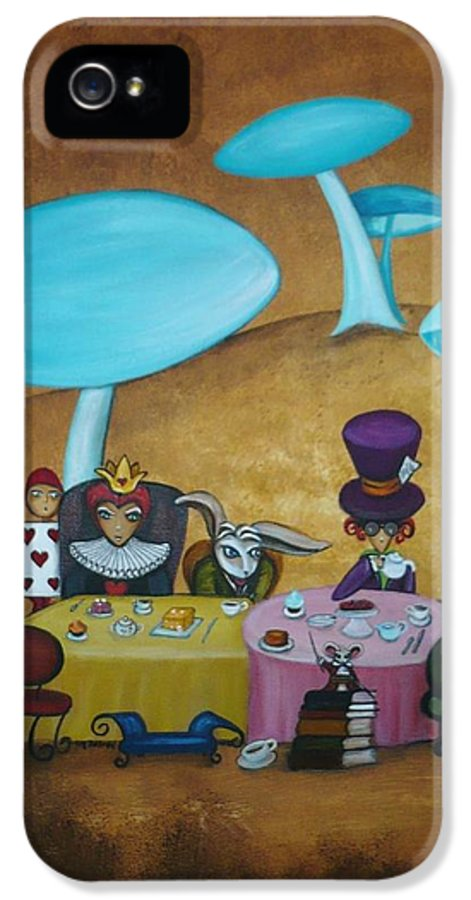 Alice In Wonderland Art IPhone 5 Case featuring the painting Alice In Wonderland Art - Mad Hatter's Tea Party I by Charlene Murray Zatloukal