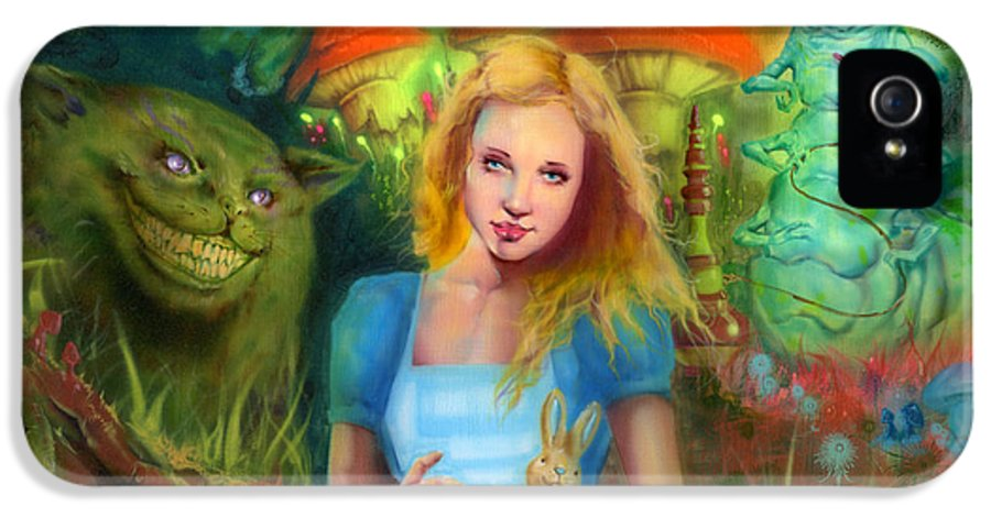 Fantasy IPhone 5 Case featuring the painting Alice by Luis Navarro