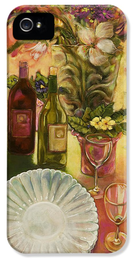 Wine IPhone 5 Case featuring the painting All Are Gathered by Jen Norton