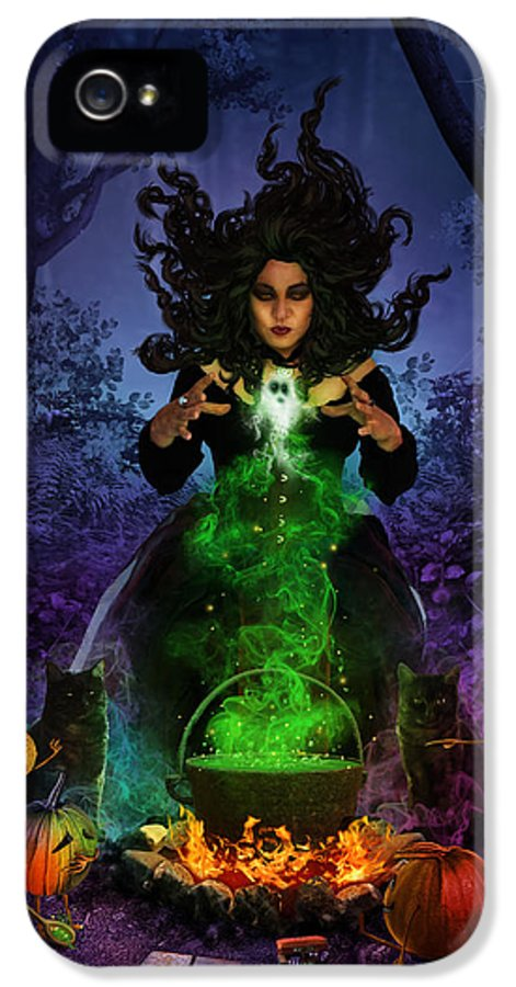 Fantasy IPhone 5 Case featuring the digital art All Hallows Eve by Cassiopeia Art