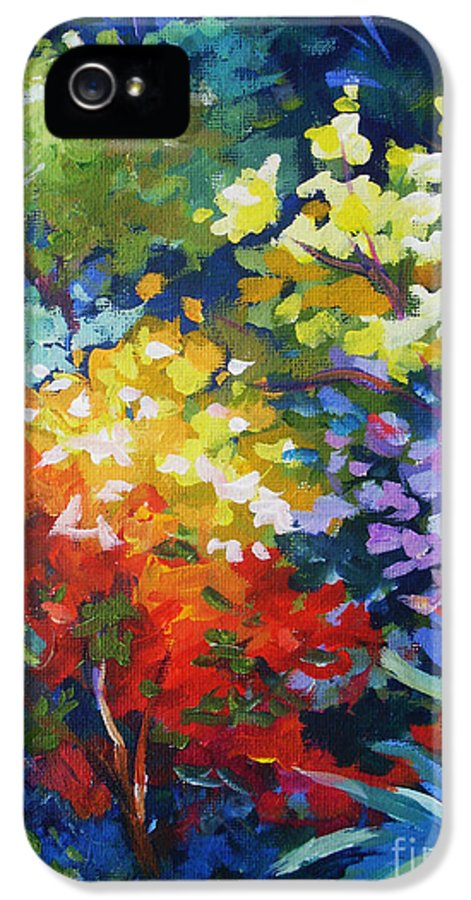 Abstract IPhone 5 Case featuring the painting Aloe by John Clark