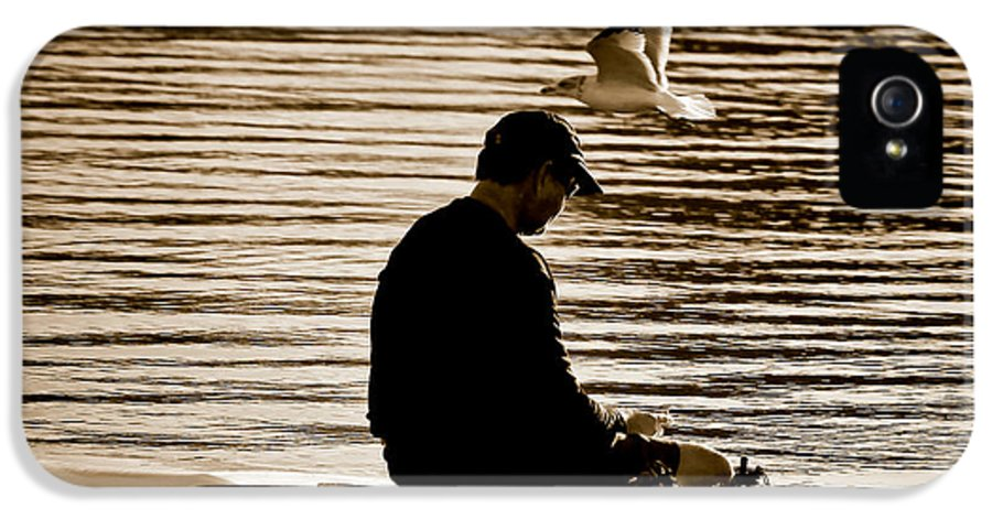 People IPhone 5 Case featuring the photograph Alone In His Thoughts But Not Alone by Carol F Austin