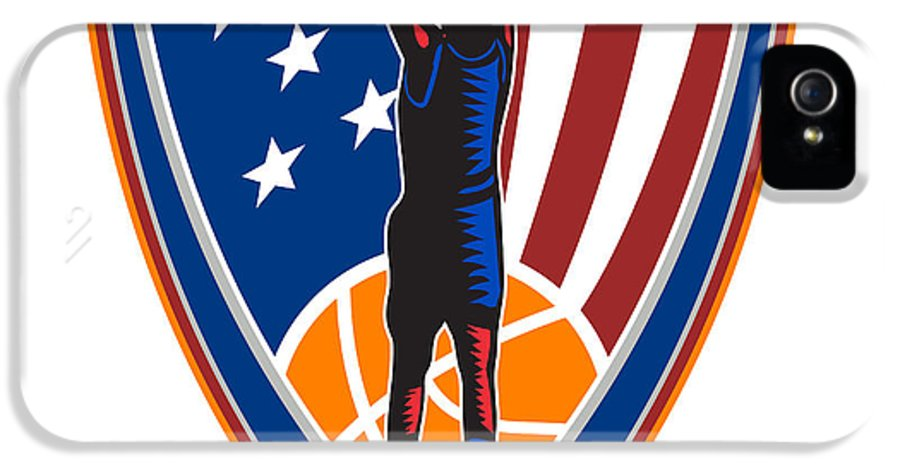 American IPhone 5 Case featuring the digital art American Basketball Player Dunk Ball Shield Retro by Aloysius Patrimonio