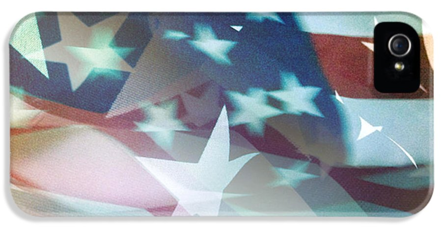 Abstract IPhone 5 Case featuring the photograph American Flag by Les Cunliffe