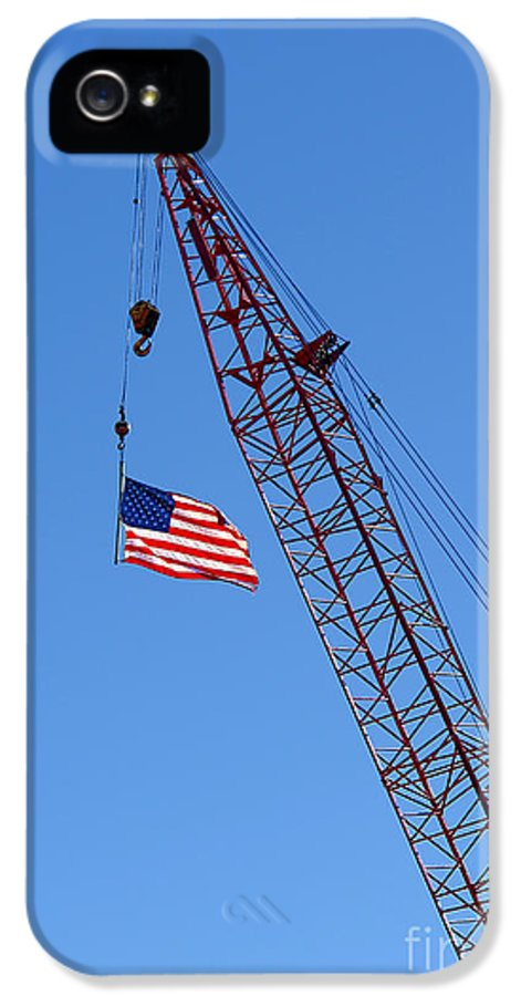 Flag IPhone 5 Case featuring the photograph American Flag On Construction Crane by Olivier Le Queinec