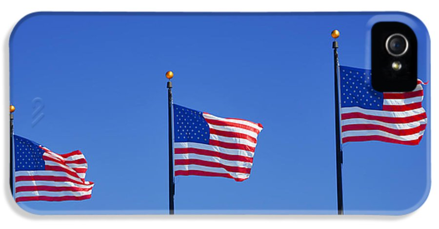 Three IPhone 5 Case featuring the photograph American Flags - Navy Pier Chicago by Christine Till