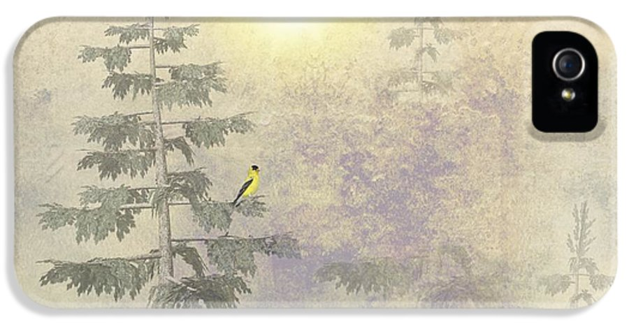 Goldfinch IPhone 5 Case featuring the digital art American Goldfinch Morning Mist by David Dehner