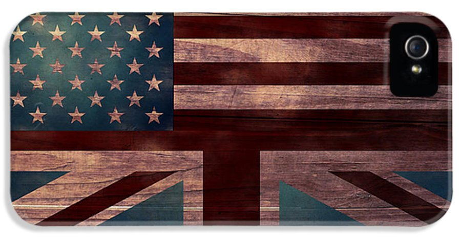 American Flag IPhone 5 Case featuring the digital art American Jack I by April Moen