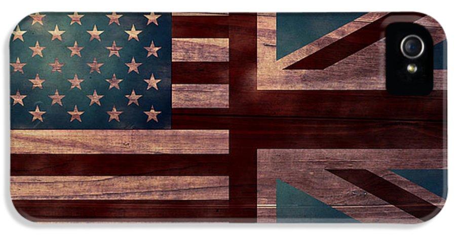 American Flag IPhone 5 Case featuring the digital art American Jack II by April Moen