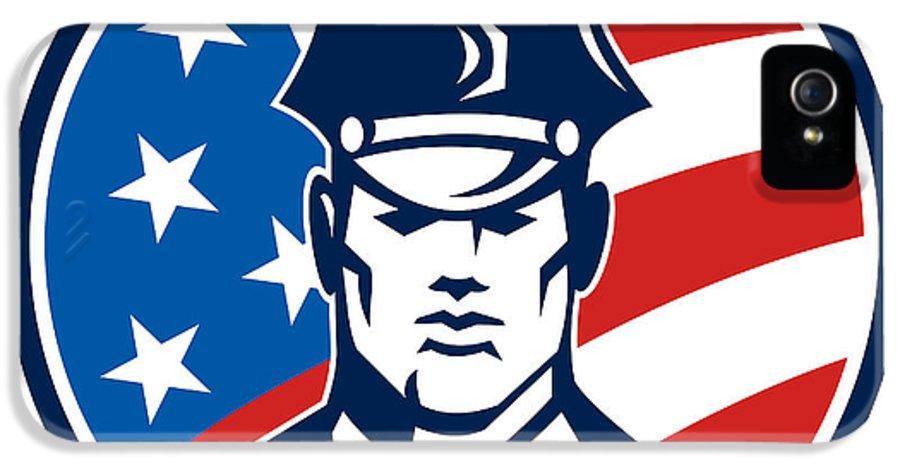 Policeman IPhone 5 Case featuring the digital art American Policeman Security Guard Retro by Aloysius Patrimonio