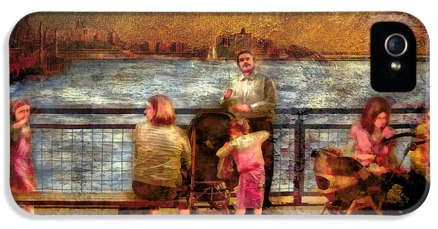 Savad IPhone 5 Case featuring the digital art Americana - People - Jewish Families by Mike Savad