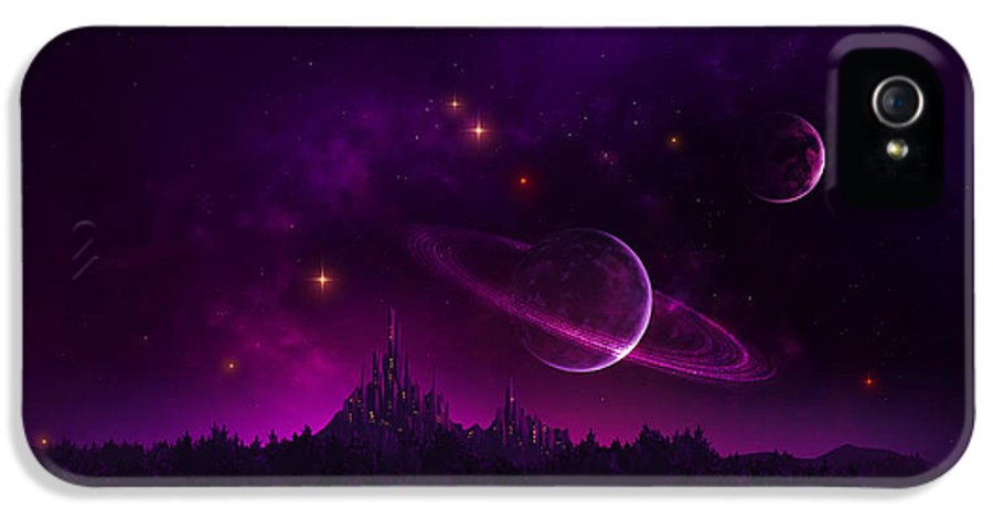 Fantasy IPhone 5 Case featuring the digital art Amethyst Night by Cassiopeia Art