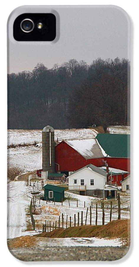 Amish Barn In Winter IPhone 5 Case featuring the photograph Amish Barn In Winter by Dan Sproul