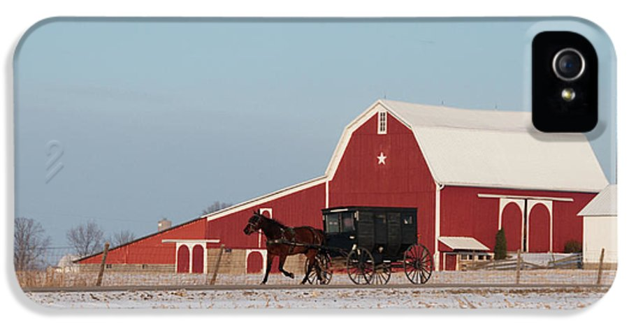 Barn IPhone 5 Case featuring the photograph Amish Buggy And Red Barn by David Arment