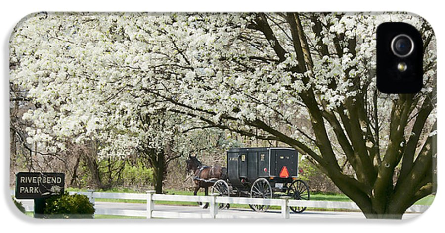 Spring IPhone 5 Case featuring the photograph Amish Buggy Fowering Tree by David Arment