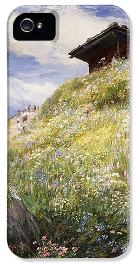 19th Century; Alpine; Animal; Artwork; Away From It All; British Artist; Chalet; Cloud; Escapism; Europe; Exterior; Field; Fine Art; Flower; Goat; Group; High Up; Home; Hut; Isolation; Macwhirter; Late Nineteenth Century; Livestock; Log Cabin; Meadow; Mountainside; Nineteenth Century; No People; Oil On Canvas; Outside; Painting; Plant; Position; Remote; Residence; Rock; Scottish Artist; Seclusion; Shack; Sky; Snow Capped; Switzerland; Swiss IPhone 5 Case featuring the painting An Alpine Meadow Switzerland by John MacWhirter