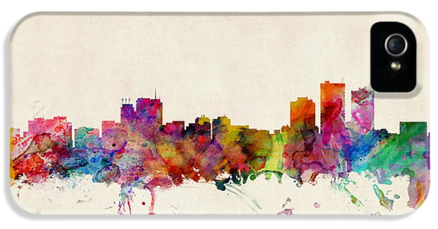 Watercolour IPhone 5 Case featuring the digital art Anchorage Skyline by Michael Tompsett