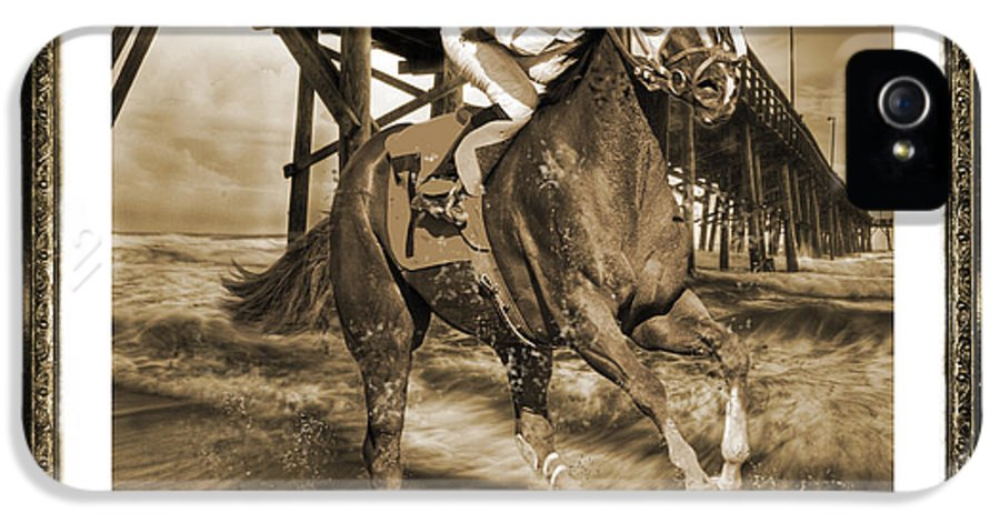 Horse IPhone 5 Case featuring the digital art And Away We Go by Betsy Knapp