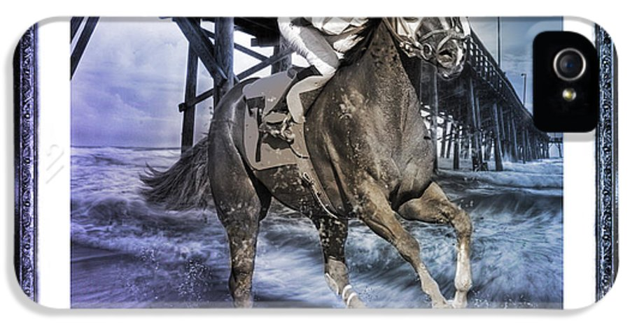 Horse IPhone 5 Case featuring the digital art And Away We Go II by Betsy Knapp