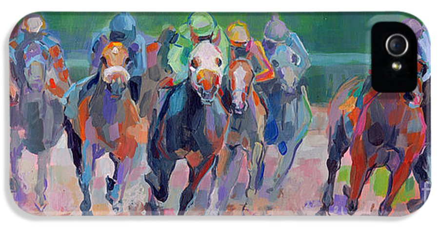 Saratoga IPhone 5 Case featuring the painting And Down The Stretch They Com by Kimberly Santini