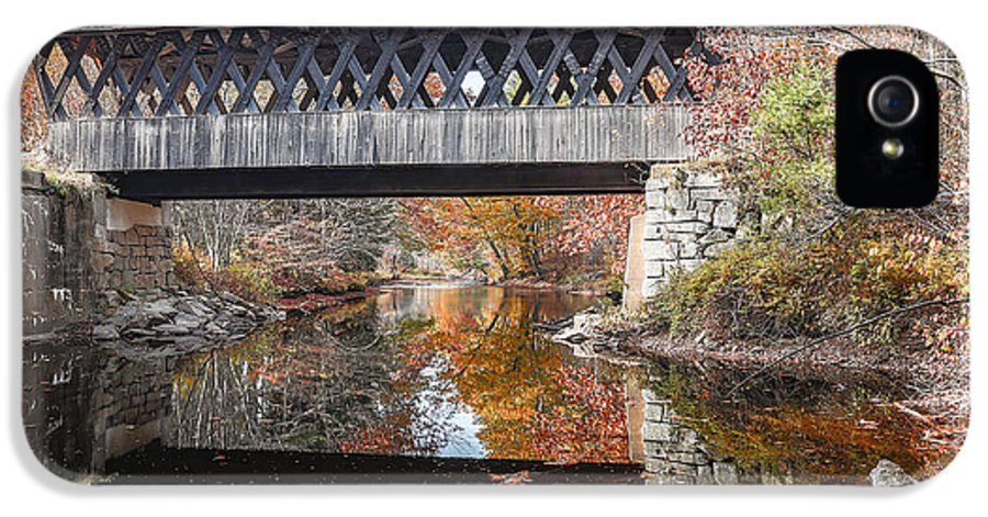 Covered IPhone 5 Case featuring the photograph Andover Covered Bridge by Edward Fielding