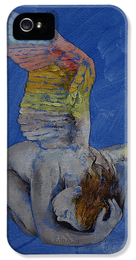 Fallen IPhone 5 Case featuring the painting Angel by Michael Creese