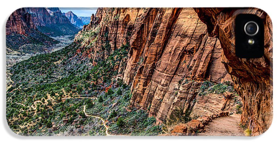 Angels Landing IPhone 5 Case featuring the photograph Angels Landing Trail From High Above Zion Canyon Floor by Gary Whitton