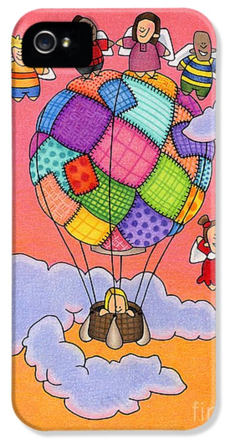 Angels IPhone 5 Case featuring the drawing Angels With Hot Air Balloon by Sarah Batalka