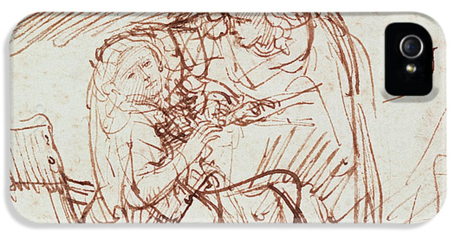 Annunciation IPhone 5 Case featuring the drawing Annunciation by Rembrandt Harmenszoon van Rijn
