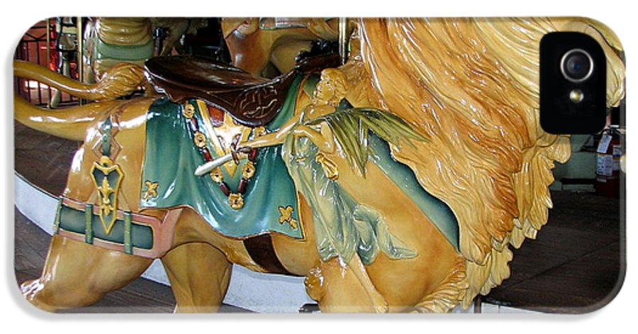 Lion IPhone 5 Case featuring the photograph Antique Dentzel Menagerie Carousel Lion by Rose Santuci-Sofranko