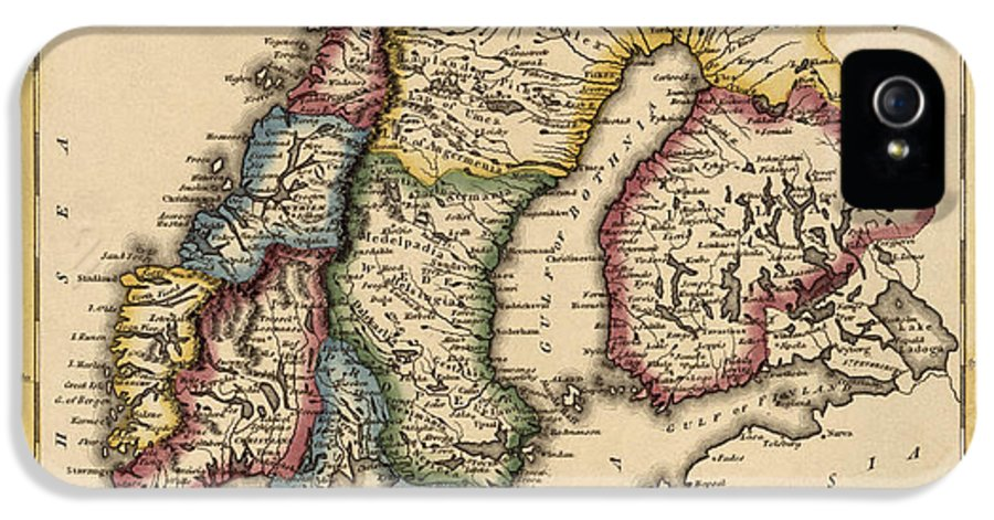Norway IPhone 5 / 5s Case featuring the drawing Antique Map Of Scandinavia By Fielding Lucas - Circa 1817 by Blue Monocle