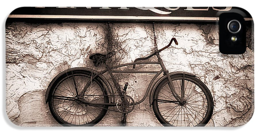 Abstract IPhone 5 Case featuring the photograph Antiques And The Old Bike by Bob Orsillo