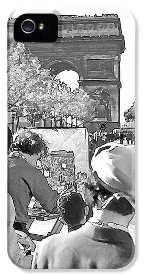 Paris IPhone 5 Case featuring the photograph Arc De Triomphe Painter - B W by Chuck Staley