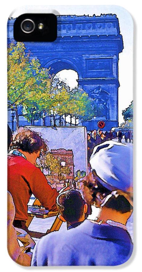 Paris IPhone 5 Case featuring the photograph Arc De Triomphe Painter by Chuck Staley