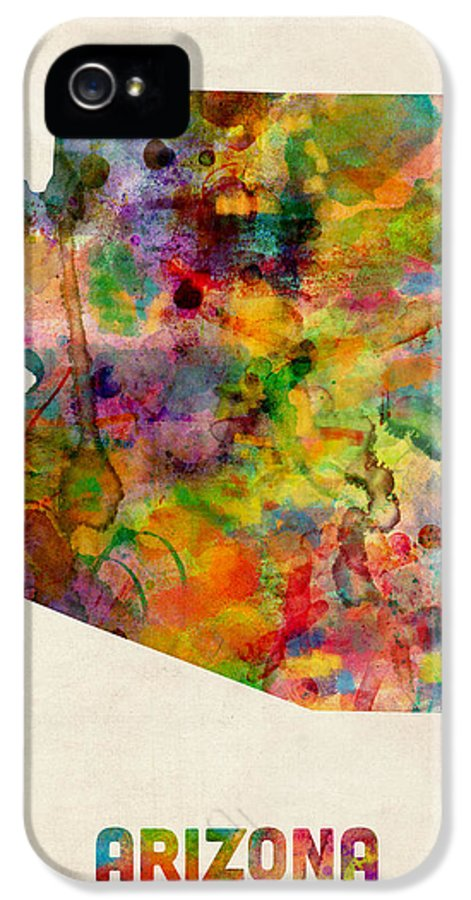 United States Map IPhone 5 Case featuring the digital art Arizona Watercolor Map by Michael Tompsett