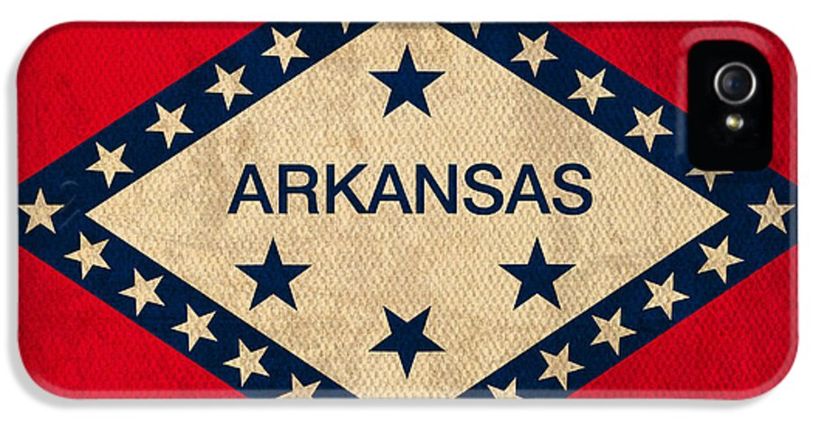 Arkansas IPhone 5 Case featuring the mixed media Arkansas State Flag Art On Worn Canvas by Design Turnpike