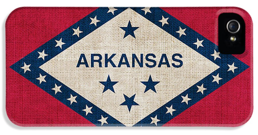 Arkansas IPhone 5 Case featuring the painting Arkansas State Flag by Pixel Chimp